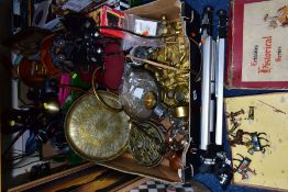 THREE BOXES AND LOOSE METALWARES, LAMPS, PAINTING, MICROSCOPE AND SUNDRY ITEMS, to include