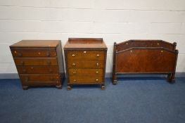 AN 1940'S OAK TWO PIECE BEDROOM SUITE, comprising a chest of four long drawers, width 76cm x depth