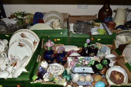 SIX BOXES AND LOOSE CERAMICS AND GLASSWARES, to include a box of Staffordshire teawares by different