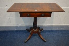 A REGENCY MAHOGANY AND CROSSBANDED DROP LEAF WORK TABLE, with a single drawer, fluted tulip support,