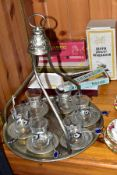 A MIDDLE EASTERN HANGING TRAY COFFEE SET WITH BOXED VINTAGE ITEMS, comprising a metal hanging tray