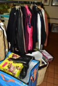 A QUANTITY OF LADIES CLOTHING, BOOTS AND SHOES, to include a large basket of clothes, coats,