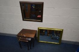A MODERN MAHOGANY NEST OF THREE TABLES, largest table width 59cm x depth 43cm x height 48cm, an