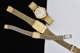 A LADIES 'OMEGA' WRISTWATCH AND TWO GENTS 'SEIKO' WRISTWATCHES, the ladies watch with a rounded