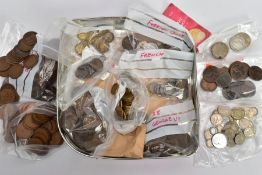 A BISCUIT TIN OF 20TH CENTURY COINAGE, mostly UK