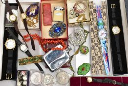 A BOX OF ASSORTED ITEMS, to include a case 'Swatch' wristwatch, two cased 'Accurist' wristwatches,