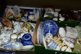 FOUR BOXES OF CERAMIC TEA AND DINNERWARES, to include a Royal Worcester Hyde Park sauceboat and