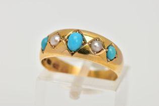 A LATE 19TH CENTURY, 18CT GOLD TURQUOISE AND SEED PEARL RING, designed with a row of three oval