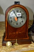 AN EDWARDIAN MAHOGANY AND INLAID MANTEL CLOCK, circular silvered dial with Arabic numerals, eight