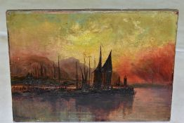 HUME NISBET (1849-1923), a sunset maritime harbour scene, boats to the foreground, hills to the