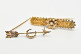 TWO YELLOW METAL SEED PEARL BROOCHES, the first a bar brooch, set with a seed pearl flower, on a