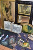 PAINTINGS AND PRINTS etc to include an oil on board portrait of a Victorian female figure, splits to