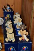 ELEVEN COLOUR BOX MINIATURES PETER FAGAN'S TEDDY BEAR COLLECTION RESIN FIGURES, with original boxes,