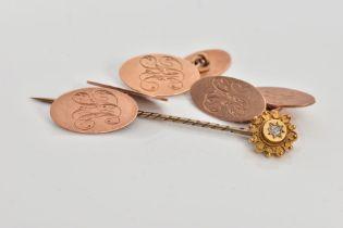 A PAIR OF 9CT GOLD CUFFLINKS, A SINGLE CUFFLINK AND A STICK PIN, a pair of rose gold cufflinks, oval