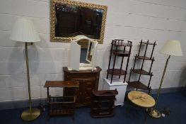 A QUANTITY OF OCCASIONAL FURNITURE, to include a near pair of standard lamps with shades, a modern