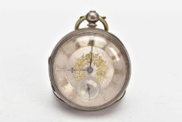 A MID-VICTORIAN SILVER OPEN FACE POCKET WATCH, round silver dial with gold floral detailing, Roman