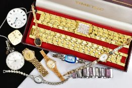 A LADIES CASED 'TIMETEC' WRISTWATCH AND MATCHING BRACELET, AND OTHER WRISTWATCHES, cased two
