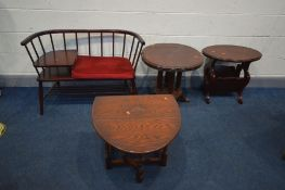 AN OAK DROP LEAF OCCASIONAL TABLE, along with an occasional table, magazine rack/table and a stained