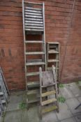 THREE WOODEN STEP LADDERS, the largest length at 230cm (3)