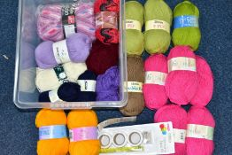 A BOX OF VARIOUS WOOLS AND YARNS, to include Magic Aran Shade 1307 (one large ball), Patons