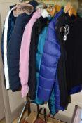 THREE LADIES HANDBAGS AND NINE ITEMS OF LADIES CLOTHING, the bags comprise a John Lewis brown