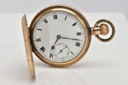 A GOLD-PLATED FULL HUNTER POCKET WATCH, round white dial, Roman numerals, seconds subsidiary dial at