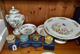 FOUR PIECES OF AYNSLEY CERAMIC WARES AND FOUR AYSHFORD CHINA TRINKET BOXES, comprising Aynsley '