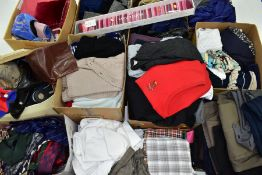 ELEVEN BOXES OF LADIES AND GENTS CLOTHING ETC, to include men's Ping golfing tops, assorted