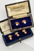 THREE ROSE GOLD COLLAR STUDS AND TWO PEARL STUDS, the three of a ball and flame design, two