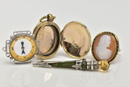 FOUR ITEMS, to include a yellow metal oval locket, engine turned design with a vacant cartouche,