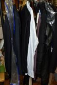 TWO BOXES AND LOOSE MENS CLOTHING AND ACCESSORIES AND LADIES HANDBAGS, clothing to include suits,