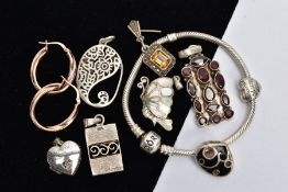 A BAG OF ASSORTED JEWELLERY, to include six pendants, such as a multi cut garnet set pendant, fitted