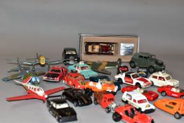 A QUANTITY OF UNBOXED AND ASSORTED PLAYWORN DIECAST VEHICLES, to include Dinky Toys Rolls-Royce