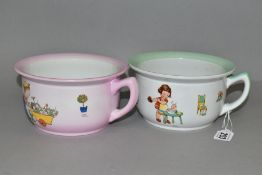 TWO SHELLEY MABEL LUCIE ATTWELL CHAMBER POTS, the pink example features a a boy pushing Boo Boo