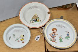 SHELLEY MABEL LUCIE ATTWELL NURSERY WARE, comprising a hot water dish with aluminium base and twin