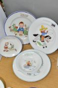SHELLEY MABEL LUCIE ATTWELL NURSERY WARES comprising a Fisherman Joe 20cm plate and bowl, Cowboy