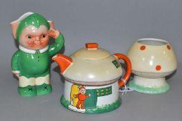 A SHELLEY MABEL LUCIE ATTWELL MUSHROOM SHAPED TEA SERVICE, comprising a teapot house, mushroom sugar