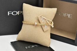 AN 18CT GOLD 'FOPE' BRACELET, brick link snake chain, fitted with a tri-colour yellow, rose and