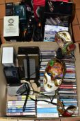 TWO BOXES OF ELECTRICALS & CDS ETC, to include Trevor Sorbie Air Styler, Nicky Clarke Frizz