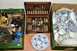 TWO BOXES AND LOOSE CERAMICS, PENS, PIPES, CUTLERY, ETC, including a forty piece Johnson Bros Indies