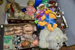 A QUANTITY OF DOLLS, DOLLS CLOTHING AND SOFT TOYS, dolls include Gebruder Heubach bisque head