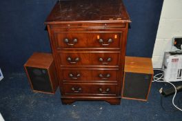A VINTAGE COMPONANT HIFI IN A PERIOD HI FI CABINET comprising of Rotel RA 310 Solid State Amplifier,