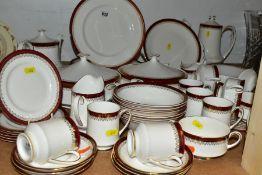 A SIXTY FOUR PIECE PARAGON/ROYAL ALBERT HOLYROOD DINNER SERVICE, comprising tea pot, coffee pot, two
