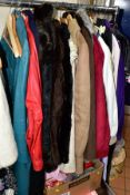VARIOUS LADIES COATS, JACKETS, DRESSES, HATS, ETC, to include knee length leather coat (aqua in