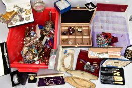 TWO BOXES OF MISCELLANEOUS ITEMS, to include a quantity of costume jewellery, a quantity of EPNS