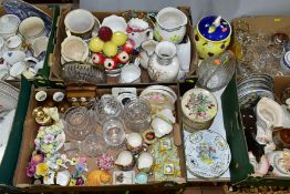 SIX BOXES OF CERAMICS AND GLASS ITEMS, ETC, to include Royal Winton 'Richmond' dwarf candlesticks,