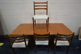 A YOUNGER LTD MID CENTURY TEAK EXTENDING DINING TABLE, on twin square legs, extended length 183cm