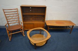 FOUR VARIOUS MID CENTURY TEAK FURNITURE, to include a glazed bookcase, width 92cm x depth 28cm x