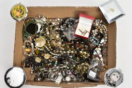 A BOX OF ASSORTED COSTUME JEWELLERY, to include a white metal charm bracelet suspending six charms