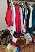 VARIOUS LADIES JACKETS, DRESSES, SKIRTS, HANDBAGS, SHOES, SCARVES, ETC, mostly sizes 12/14 to